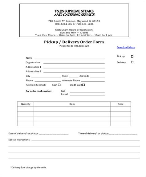 sle delivery order form 9 exles in word pdf