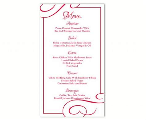 menu word template wedding menu template diy menu card template editable text