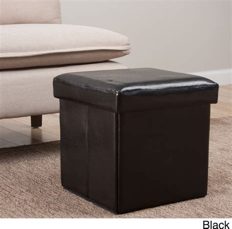 Modern Storage Ottoman Square Folding Faux Leather Storage Ottoman Contemporary Footstools And Ottomans By