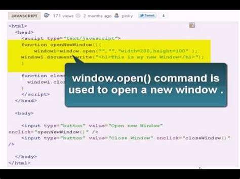 javascript tutorial open new window javascript tutorial open and close windows in javascript