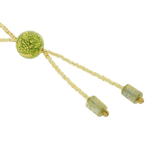 Green Balls Korean Necklace murano necklaces murano tie necklace green and gold