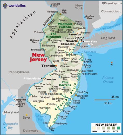 a to z the usa new jersey state flower map of new jersey large color map