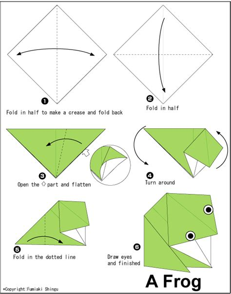 Origami Frog Diagram - frog easy origami for