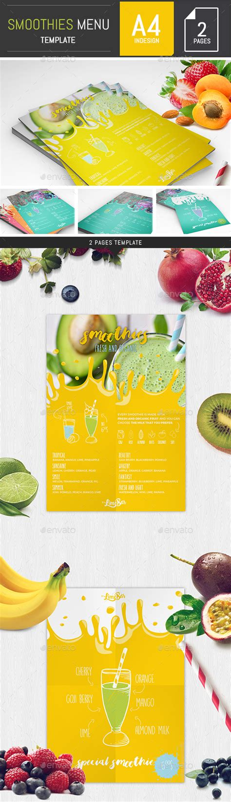 Smoothies Menu Template By Dogmadesign Graphicriver Smoothie Website Template