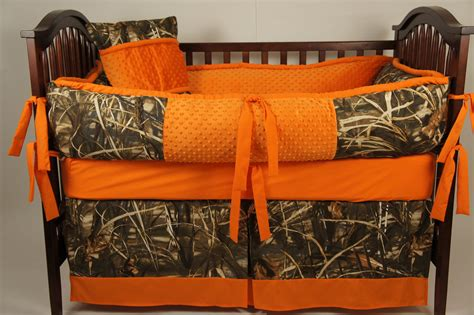 orange camo bed set realtree max 4 hd custom made baby crib bedding by babylooms