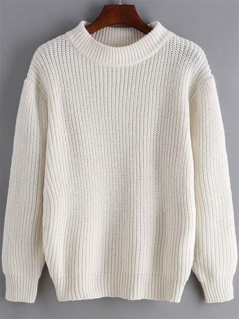 Sweater White white neck sleeve sweater shein sheinside