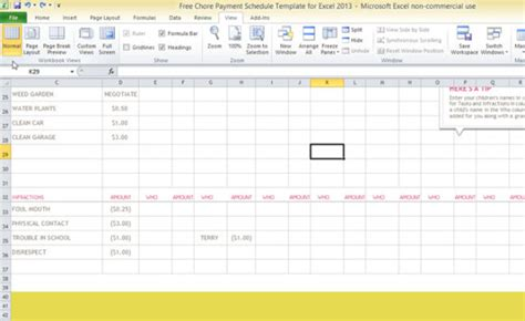 Free Chore Payment Schedule Template For Excel 2013 Monthly Chore Chart Template Excel