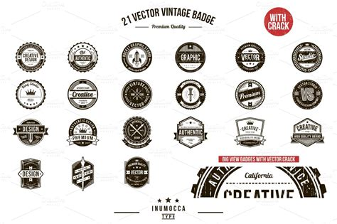 21 vintage badges clear crack logo templates on