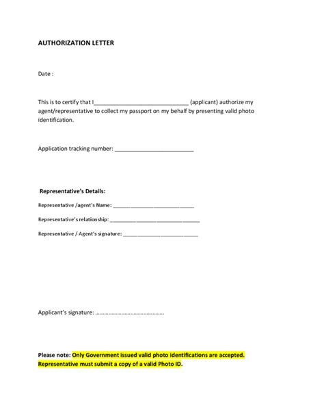 authorization letter template to collect passport collection authorization letter free