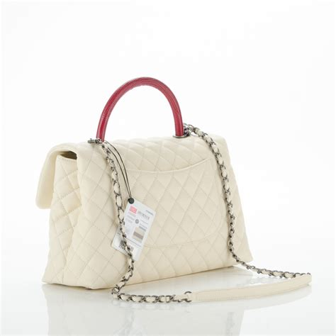 coco handle medium size chanel caviar lizard quilted medium coco handle flap white