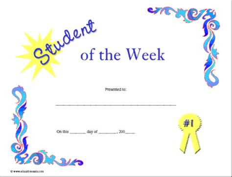 of the week certificate template certificates for teachers student of the week 4