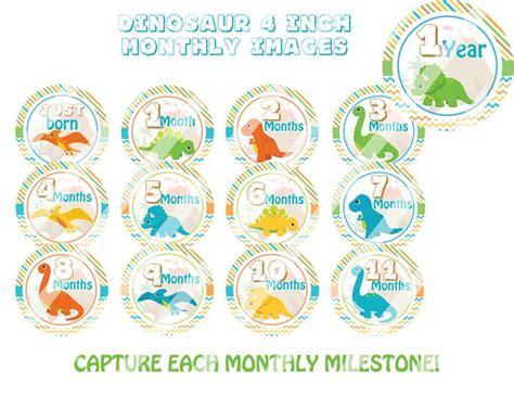 printable dinosaur stickers dinosaur monthly milestone stickers printable 4 inch