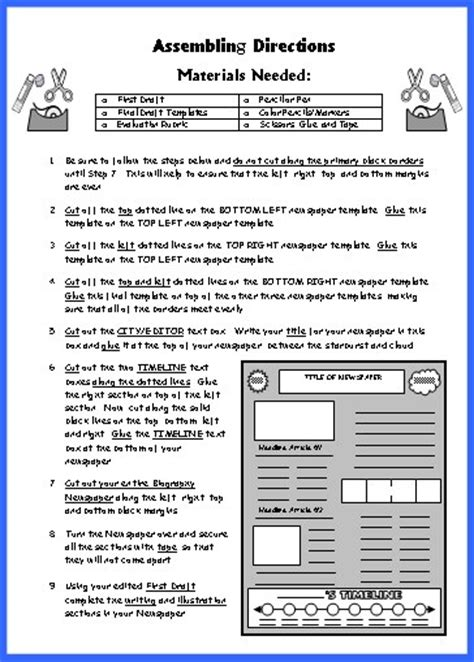 newspaper book report newspaper worksheet with headline titanic launch newspaper