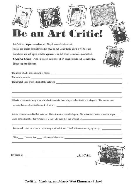 worksheets for students helpful worksheet to get students used to critiquing