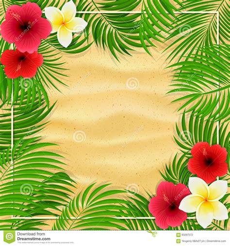imagenes flores hawaianas flores y hojas de palma hawaianas en fondo arenoso