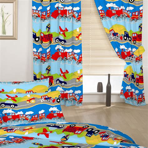 kids curtains boys children s kids curtains transport emergency vehicles boys