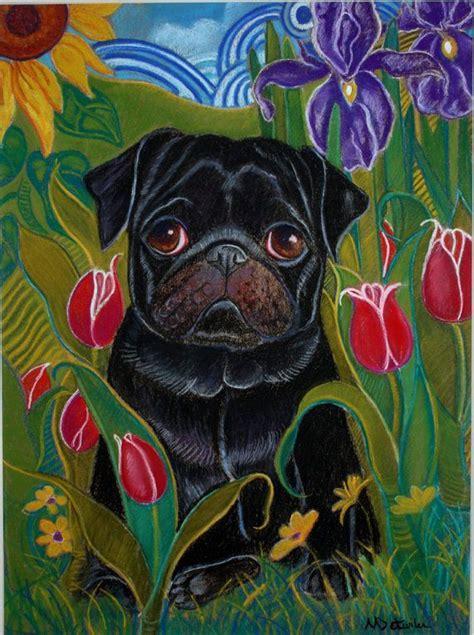 black pug painting pug painting painting black pug intulips iris and sunflowers original