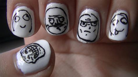 Meme Nail Art - meme face nail art youtube