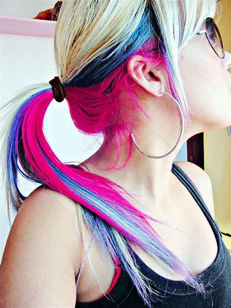 tri colored hair layer pastel tri color hair colors ideas