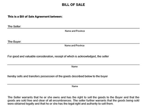 printable car bill of sale ontario true help free legal forms