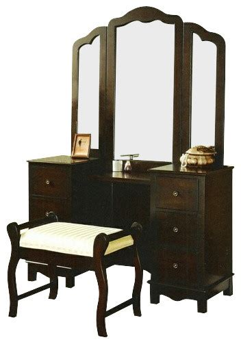 3 pc espresso finish wood large size bedroom make up