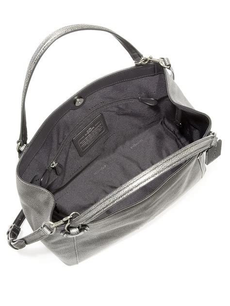 Ficcare Metallic Leather Bags by Coach Edie Metallic Pebbled Leather Shoulder Bag In
