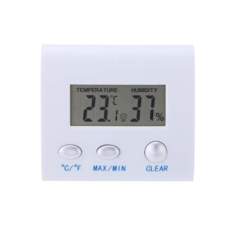 Thermometer Hygrometer Digital lcd digital hygrometer humidity thermometer temperature meter clock home indoor use white