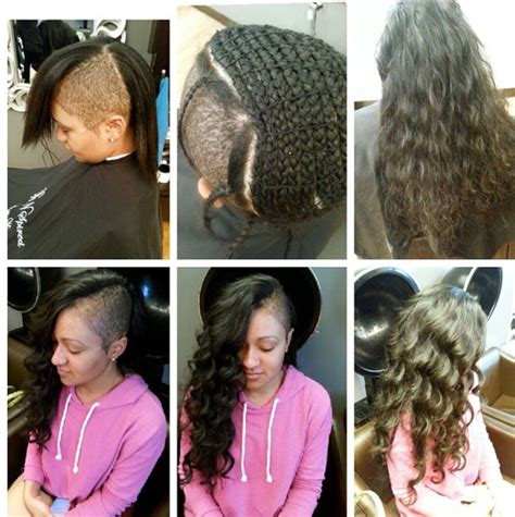 shaved sides long top extensions sew in shaved sides braid extensions wavy human hair
