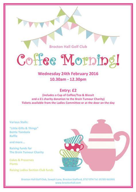 Coffee Morning 24th Feb Brocton Hall Golf Club Coffee Morning Invitations Templates