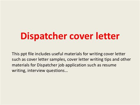 dispatcher cover letter dispatcher cover letter
