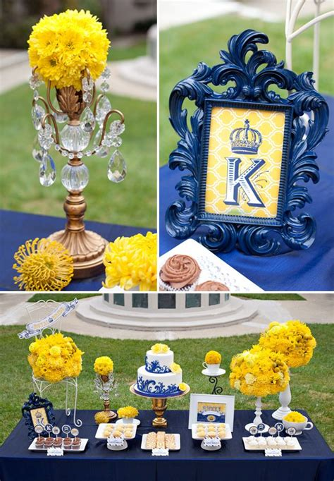 royal wedding themes on yellow bridal showers