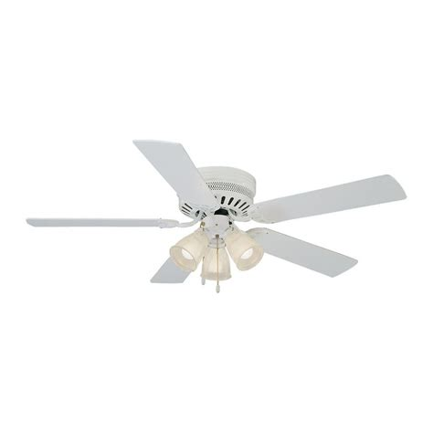 white flush mount ceiling fan with light shop design house homestead 52 in white flush mount indoor