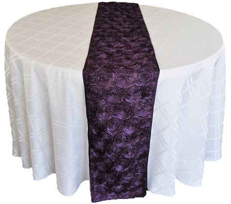 Eggplant Table Runners by Eggplant Satin Rosette Wedding Table Runners Sale