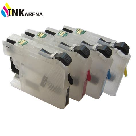chip resetter brother lc123 4pcs refillable ink cartridge for brother lc123 with reset
