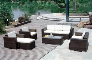 outdoor wicker patio furniture with brown color ideas