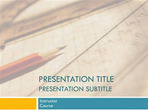 college powerpoint template academic presentation for college course paper and pencil