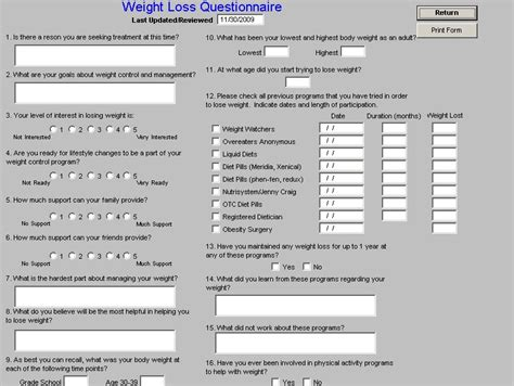Barriers To Weight Loss Questionnaire Doctorgala Loss Survey Template
