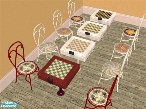 chess table chairs sims 3 wimpy1968 s maxis match chess tables