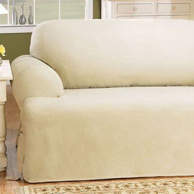 sure fit cotton duck sofa slipcover natural sure fit duck solid t cushion loveseat slipcover