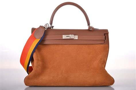 Hermes Birkin Raibow Os2202 hermes bag 35cm grizzly suede with rainbow janefinds at 1stdibs