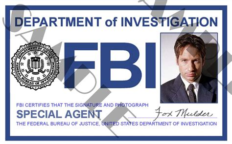 fbi id card template x files special fox mulder id card template x4l125
