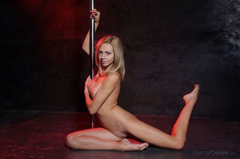 blonde Teen From Sweden Removes Jeans While Getting Naked On Stripper Pole