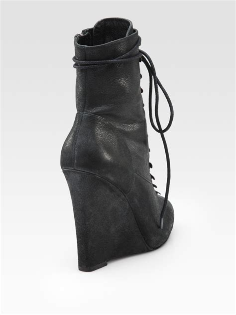 joie on through leather lace up wedge ankle boots in