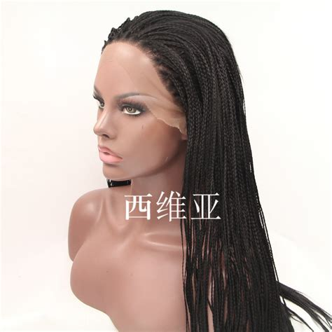 micro braided wigs natural long braided lace front wigs for black women micro