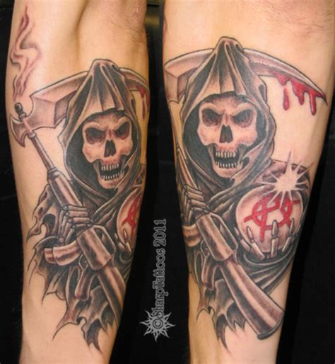 soa tattoos samcro grim reaper with anarchy in