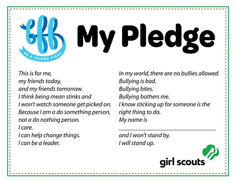 Scout Pledge Free Scout Anti Bullying Pledge Bff Be A Friend