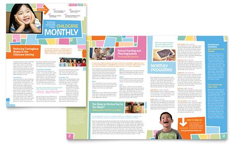 preschool kids day care newsletter template word
