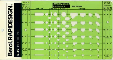 Pipe Fitting Templates berol rapidesign template pipe fitting r 49 ebay