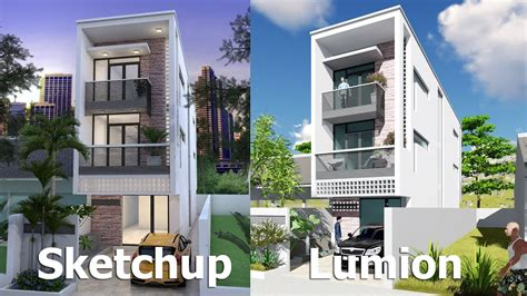 house design sketchup youtube narrow house design sketchup exterior modeling w4 2m n02