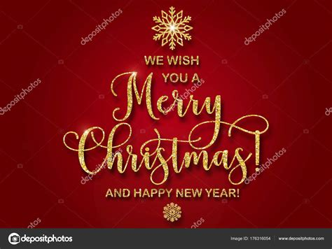 greeting card  golden glitter text     merry christmas   happy  year